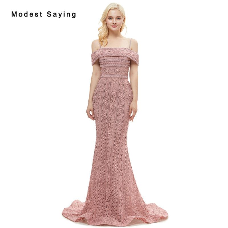 Ball Gowns Prom · Find More Evening Dresses Information about Elegant Dusty  Rose Mermaid Pearls Lace Evening Dresses 2019 with 511d9a436672