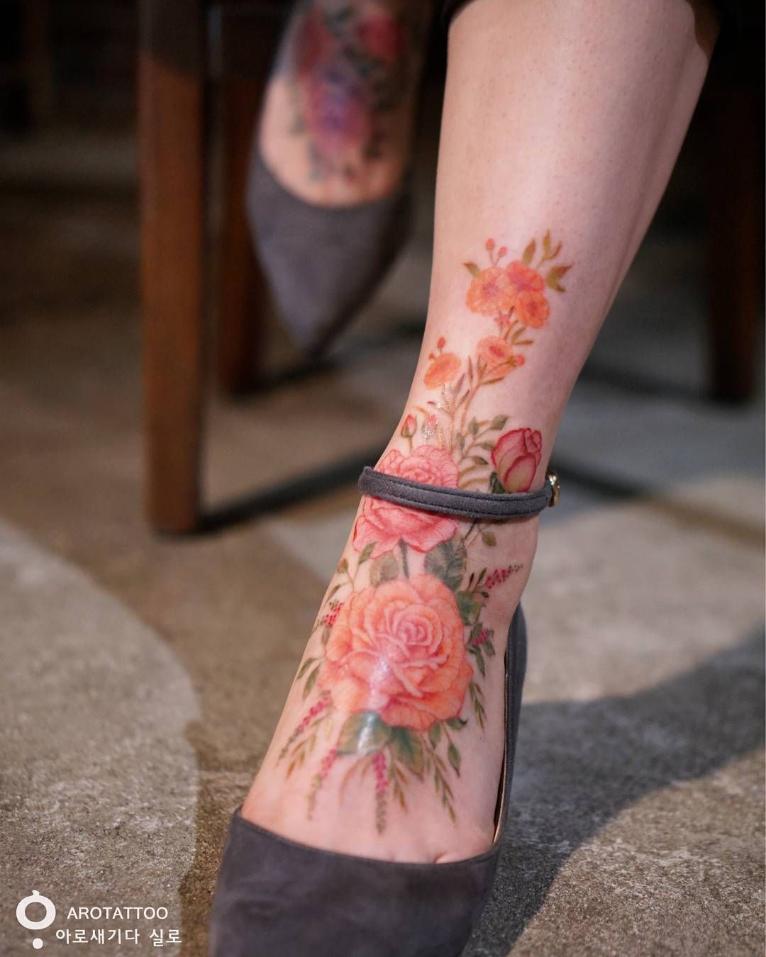 Flower Tattoo Up Leg: Large Floral Ankle Piece