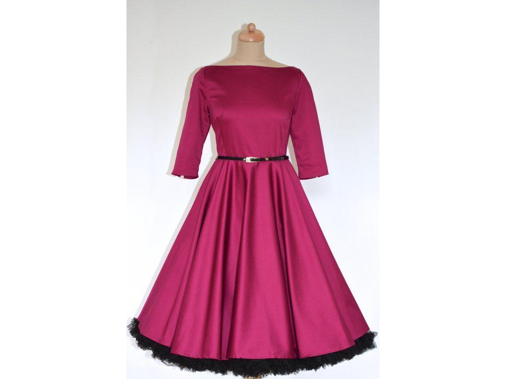 0d3898166 ADELE retro šaty vínové - více barev. lodičkový výstřih 3/4 rukáv kolová  sukně pásek s ozdobnou sponou délka sukně 60 cm, zip na zádech