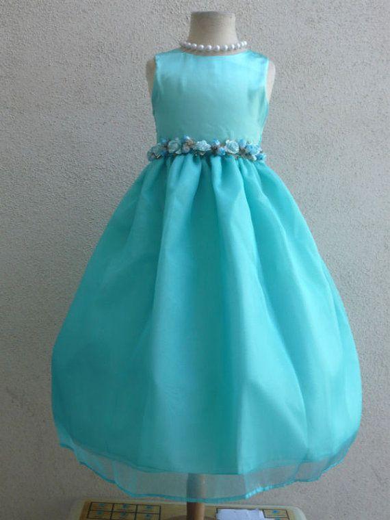 Robes fille fleur  bleu AQUA FD0803  mariage par NollaCollection, $27.99