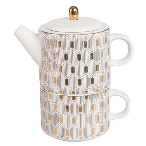 Tassen Theiere théière célibataire avec tasse en porcelaine motifs dorés | idées