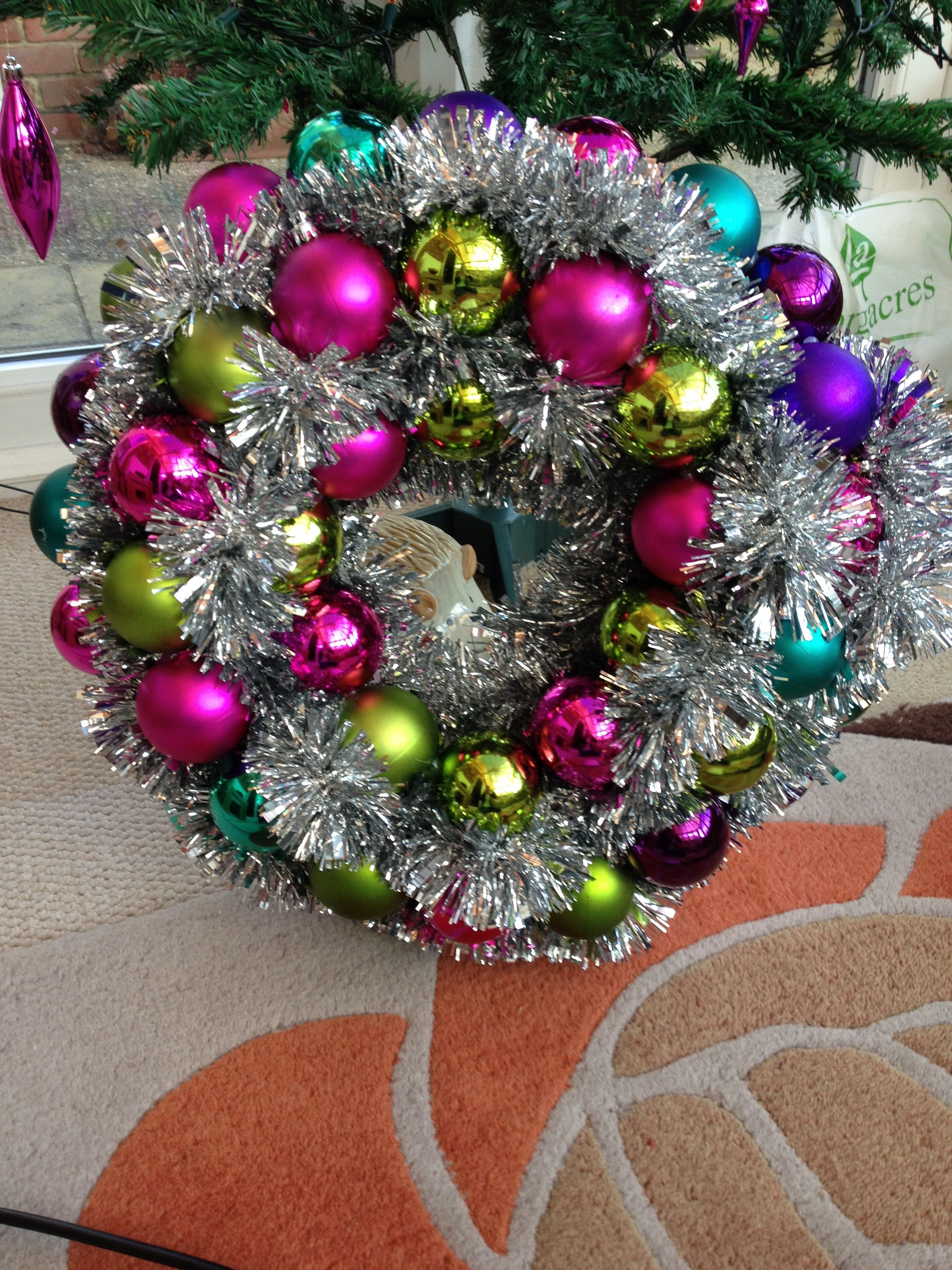 Made A Christmas Wreath Used Polystyrene Hobycraft Bulbuls Argos Tinsel Longacres
