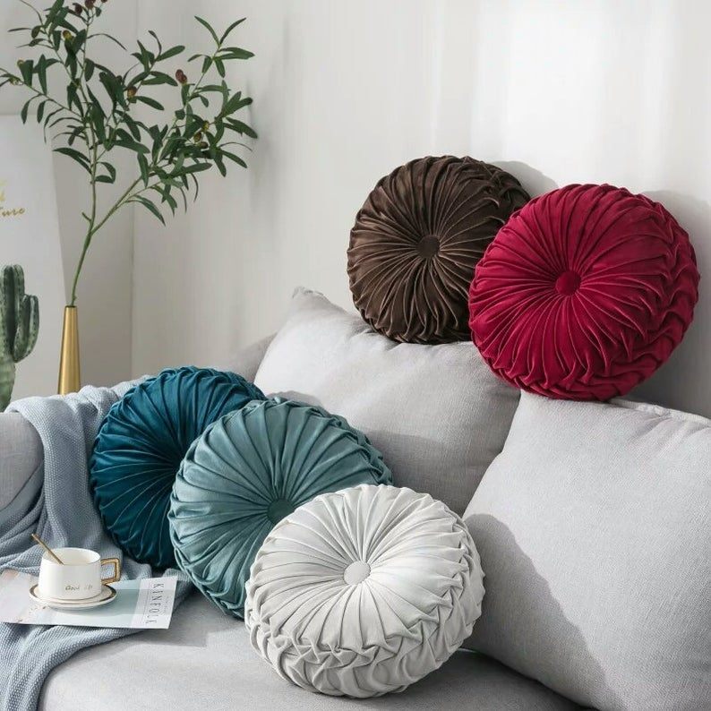 2019 Home Sofa Chair Bed Car Decoration Velvet Pleated Round