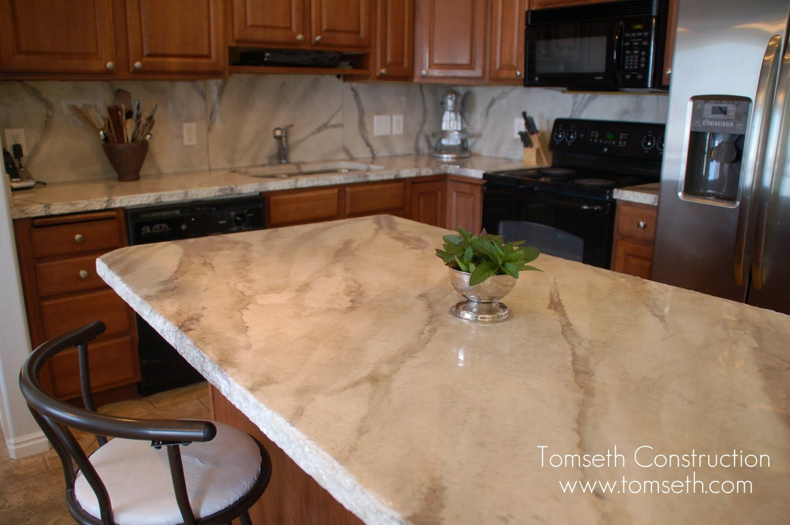 Concrete Counters That Look Like Marble Kitchen
