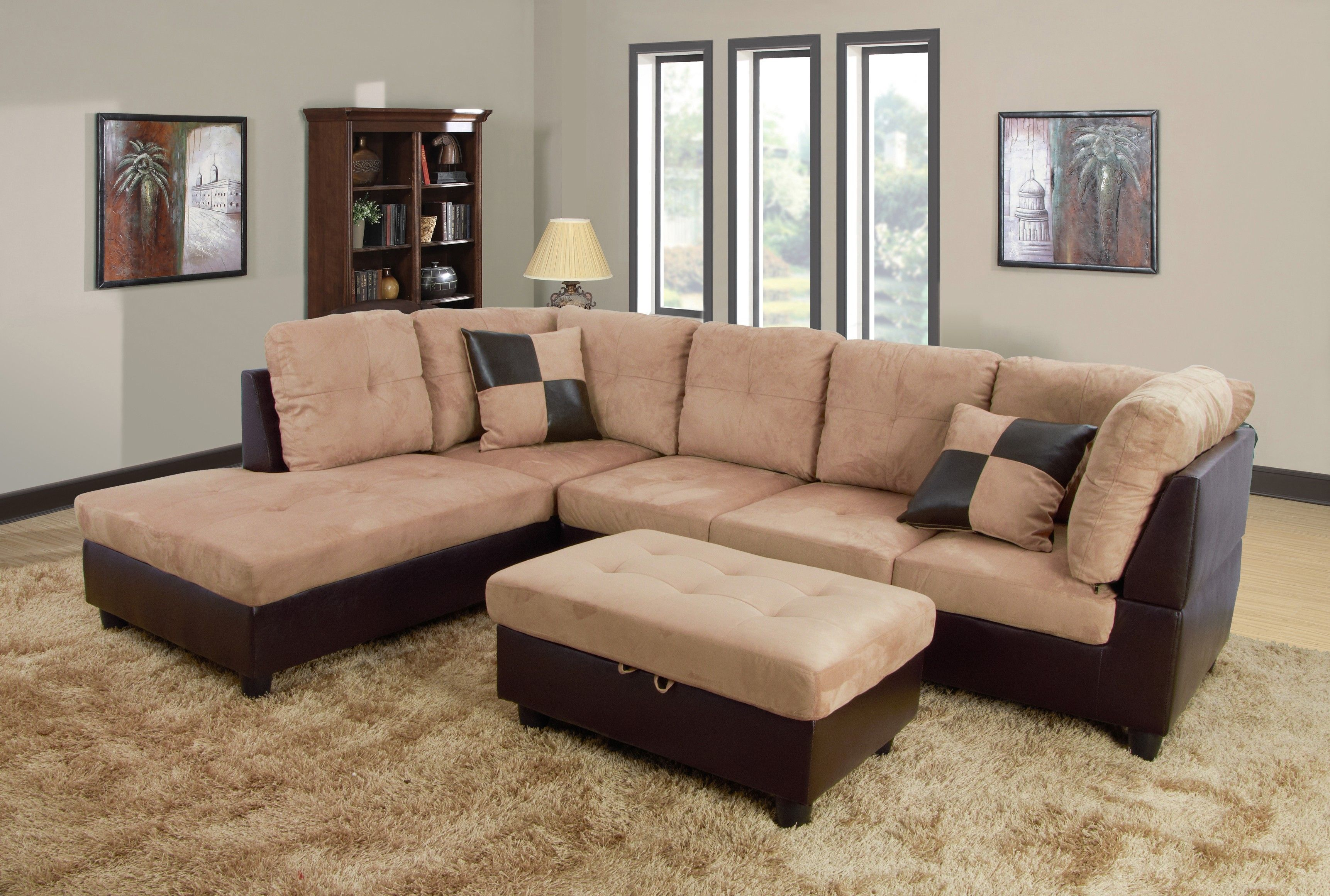 Beverly Furniture Sedona Brown Microsuede Left Chaise Brown 3 Pc