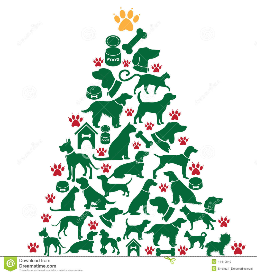 Illustration About Cartoon Dogs And Cats Christmas Tree Eps 10 Vector Illustration Of Cheerful Cartoo Cat Christmas Tree Christmas Cats Christmas Tree Images