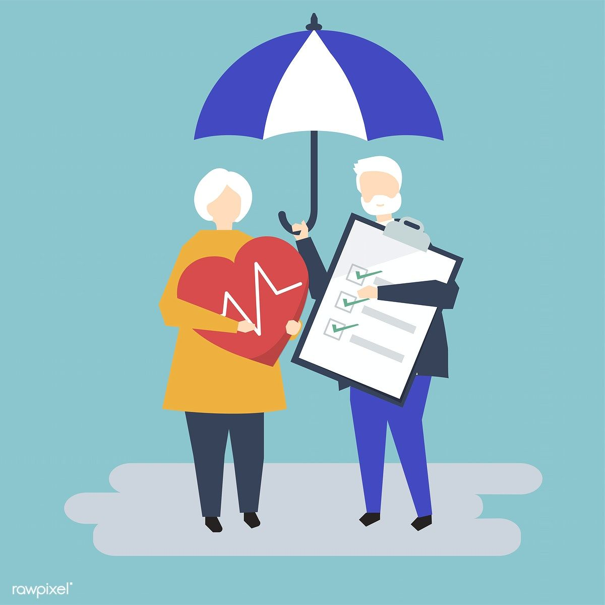 Characters Of A Senior Couple And Health Insurance Illustration Free Image By Rawpixel Com Health Insurance Best Health Insurance Illustration