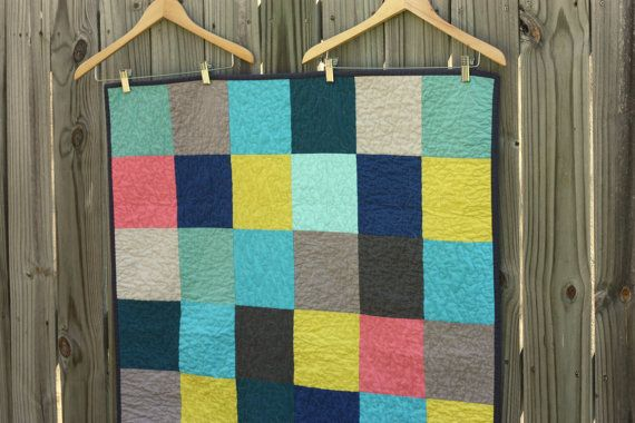 Modern Patchwork Baby or Lap Quilt in Blues by LizEllenHandmade, $95.00