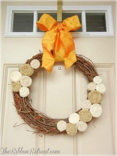 Fall Rosette Wreath - {The Ribbon Retreat Blog}