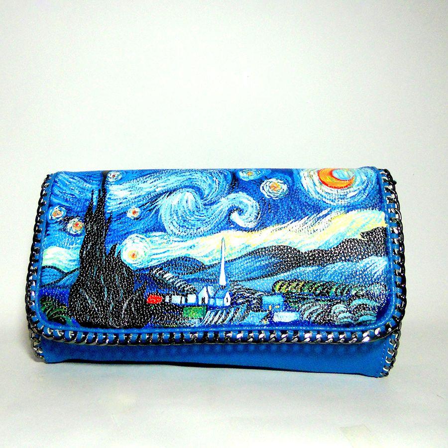 Borsa pochette dipinta a mano notte stellata il dipinto for Dipinto di van gogh notte stellata