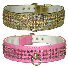 Majestic Tapered Three-Row Jeweled Dog Collar. Love the Gold one!