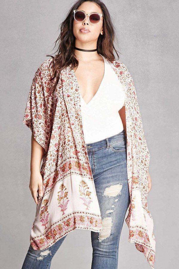 Plus Size Draped Floral Cardigan - Plus Size Kimono