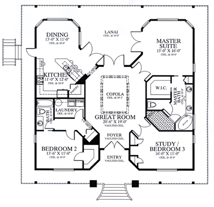 Florida Style House Plan with 3 Bed 2 Bath