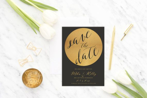 Save the Date Card Black and Gold Save the Date Card Gold and Black Save the Date Card Save the Date Invitation Modern Save the Date Invitation