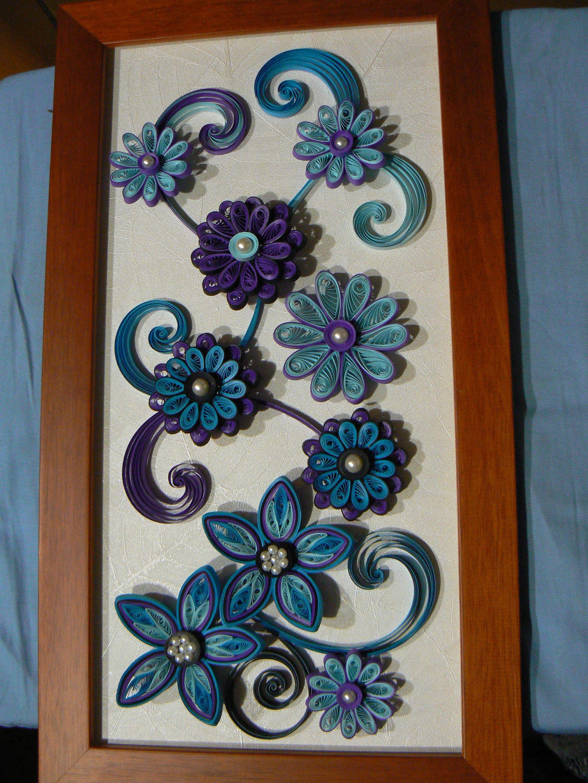 Tableau fleurs bleue le quilling pinterest tableau for Deco quilling