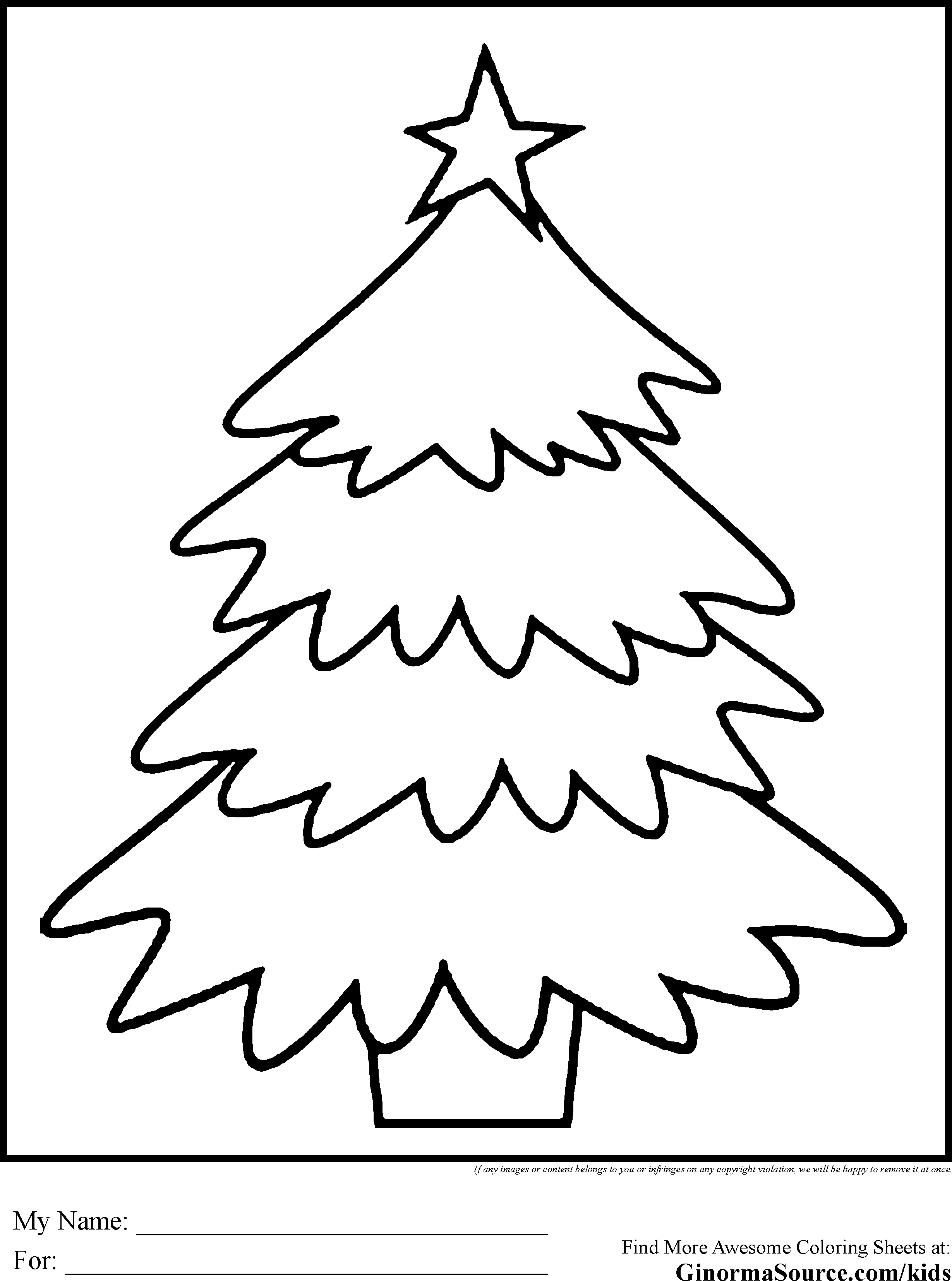 simple christmas tree coloring pages - Christmas Tree Coloring Sheets