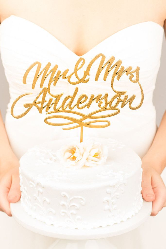 Custom Last Name Wedding Cake Topper | Winter Wedding Inspiration ...