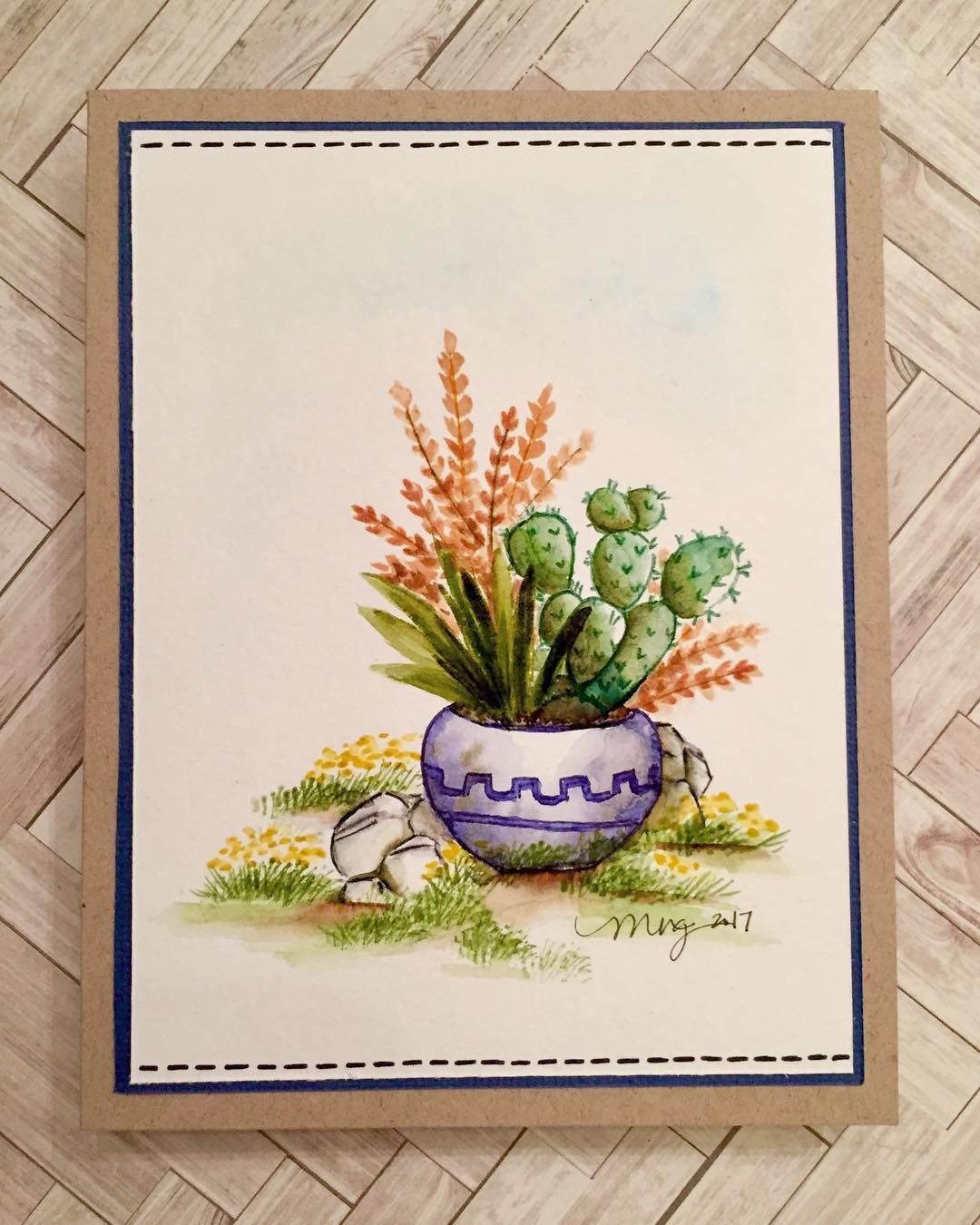 Art Impressions Watercolor Handmade Southwest Flower Pot Cactus