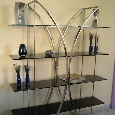 Photo of Mobili per soggiorno – libreria, collezione Tonin Casa. Struttura in metallo cromato …