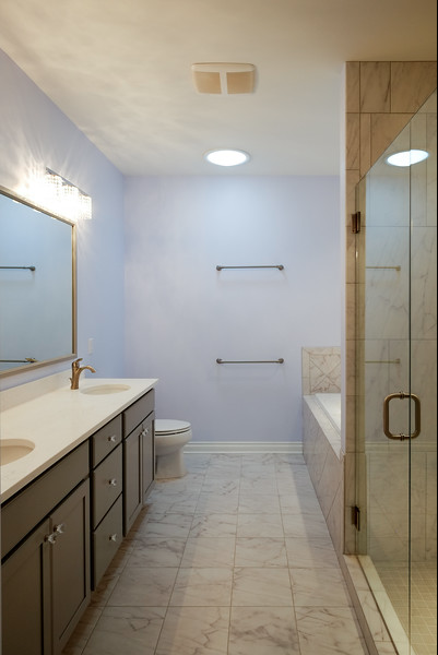 Bright light fills this bathroom. Cobblestone Bathroom, PR3717. Follow the link for the full home photo gallery.