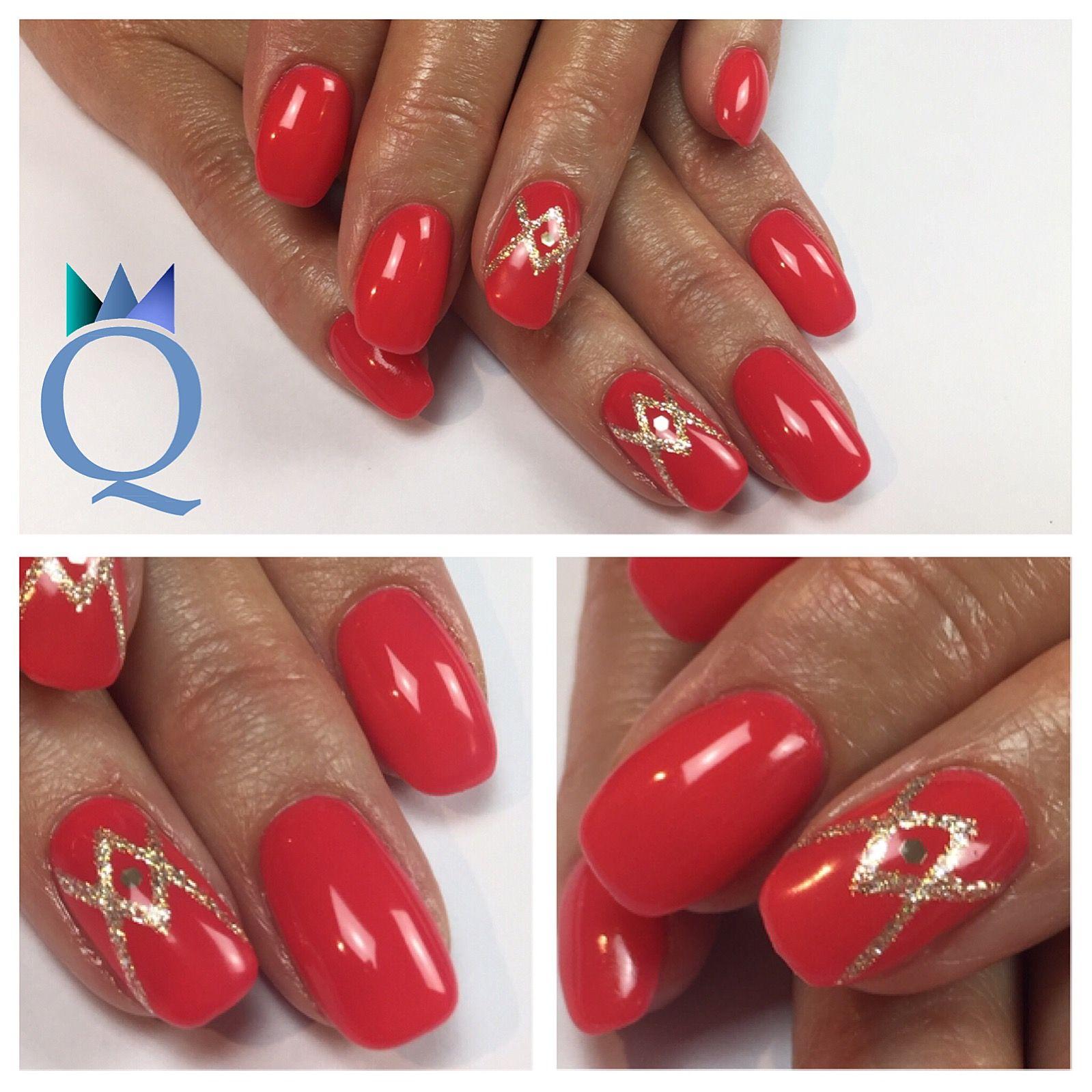 gelnails #nails #coral #goldsilver #glitter #gelnägel #nägel ...