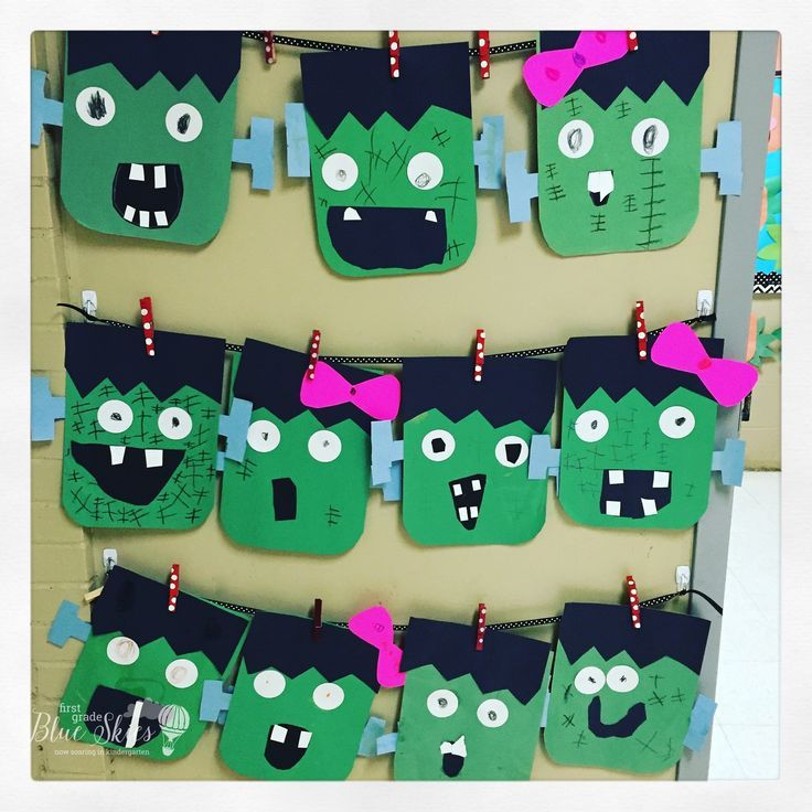 frankenstein halloween craft freebie first grade blue skies
