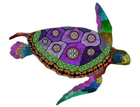 tatuaggio tartaruga: tartaruga colore stilizzato. Illustrazione vettoriale mano disegnato. Colorare libri o tatuaggi con dettagli elevati isolato su sfondo nero. Raccolta dei rettili. tartaruga colorato psichedelico. Vettoriali