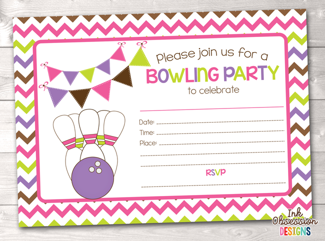 Girls Pink Bowling Party Printable Birthday Party Invitation In 2019