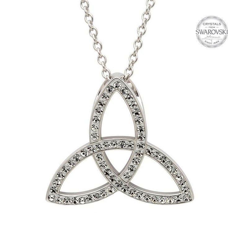 Celtic Trinity Knot Necklace Embellished With Swarovski Crystals