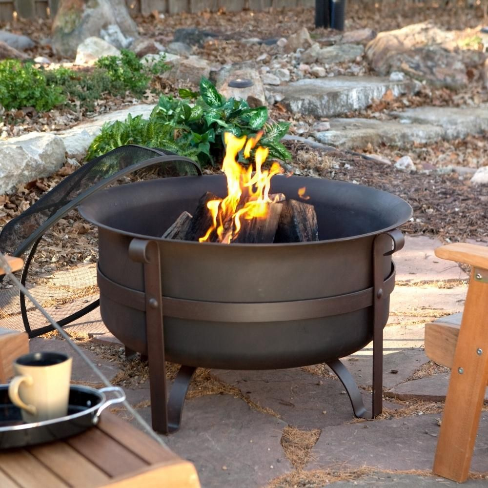 Heavy Duty 34 Inch Fire Pit Deep Steel Cauldron With