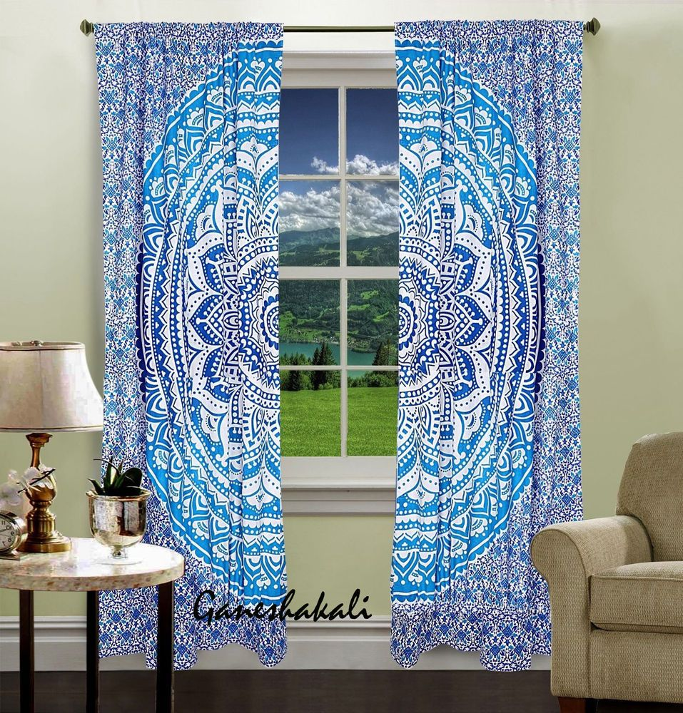 Star cotton mandala curtain window door hippie drapes hanging indian boho bohemian tapestry living room treatment home wall decor