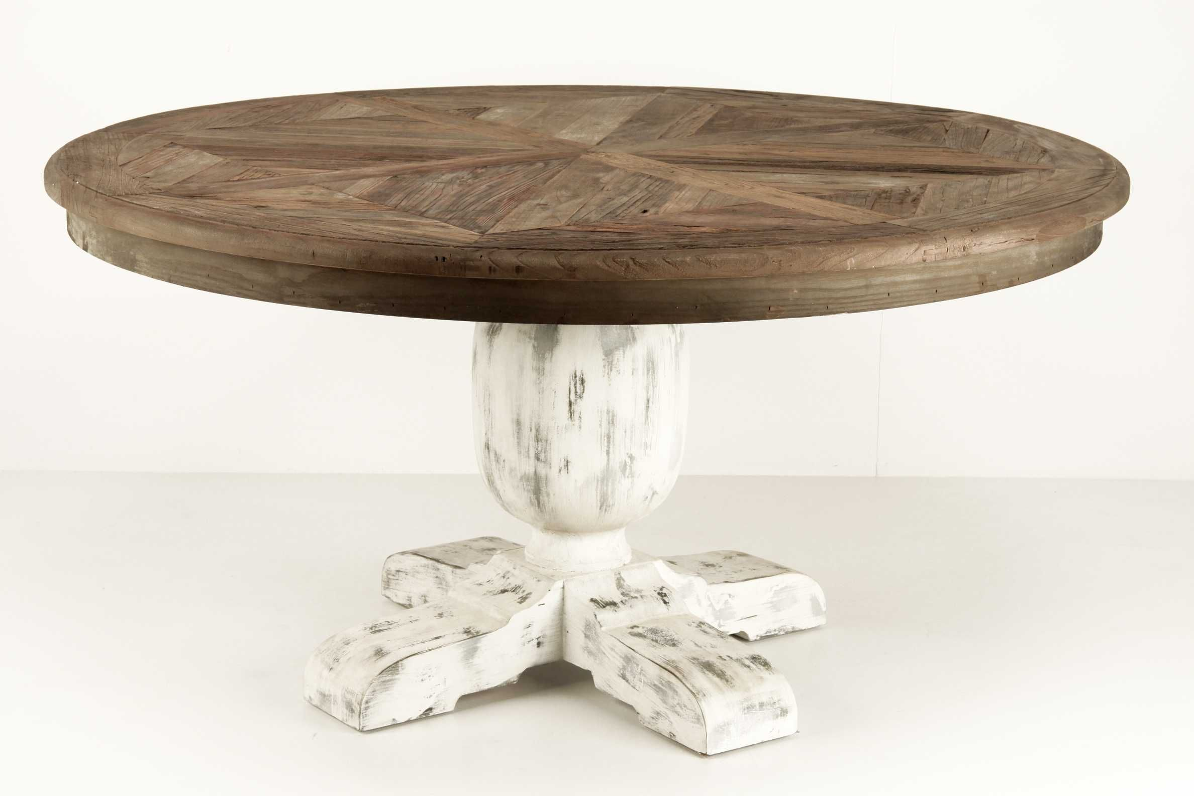 Mesa de comedor redonda de estilo vintage fabricada en for Comedor vintage blanco