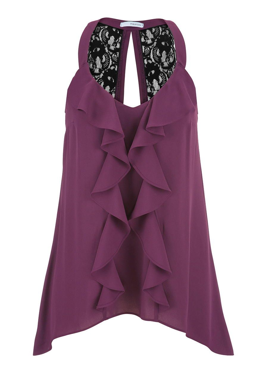 chiffon blouse with ruffle front and lace - maurices.com