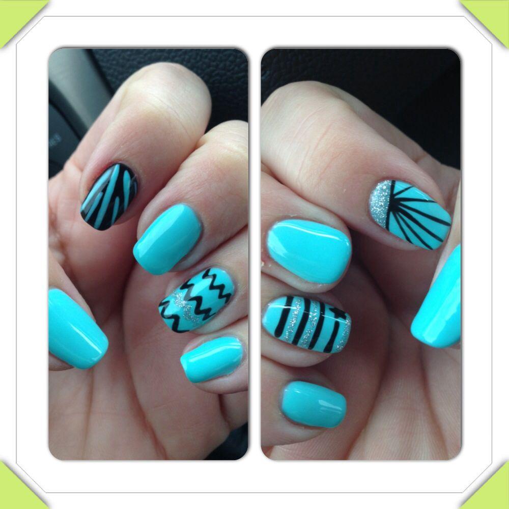 Tiffany Blue Gel Nail Polish: Tiffany Blue Abstract Nail Art With Gel Polish