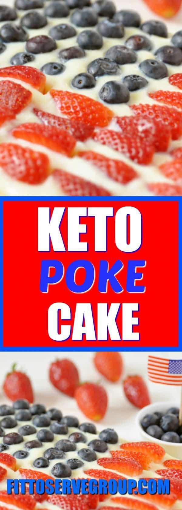 It's a keto poke cake decorated to look like an American flag. It's a perfect low carb poke cake for the 4th of July.