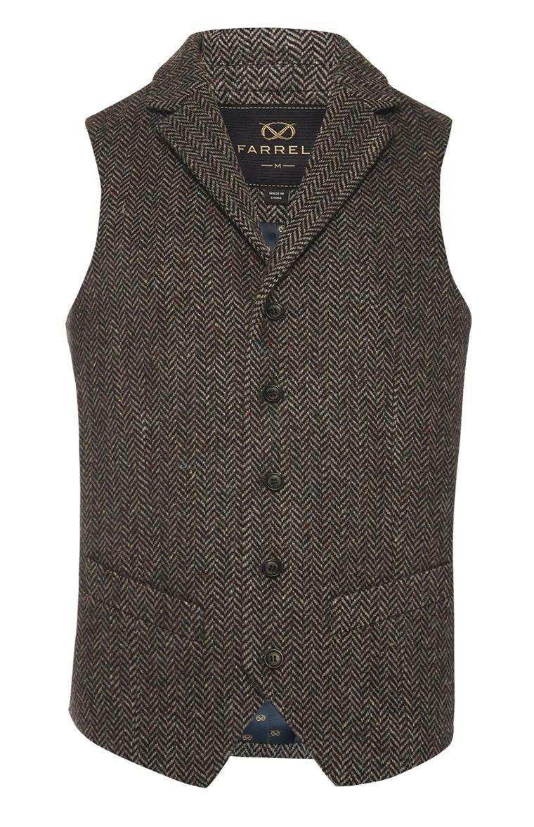 9f60eec0e99c34 Farrell Brown Herringbone Waistcoat   Obleke in 2019   Mens fashion ...