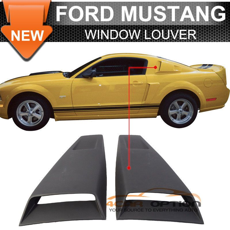 Fits 05-14 Ford Mustang Eleanor Side Window Louvers Covers Black ...