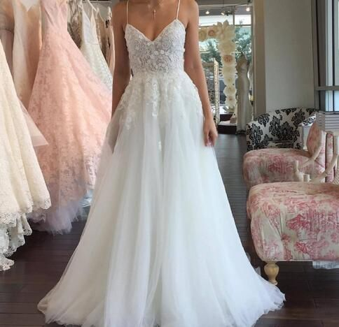 bcdf653dcb5c2 2018 Spaghetti Straps Beach Wedding Dresses Lace Appliques Floor Length Tulle  Plus Size Summer Boho Bridal Gowns Custom Made Berta Vestido