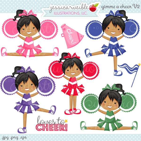 34cfb00418 Give Me a Cheer Cheerleader Clipart V2 - Celebrate your cheerleading squad  with these adorable cheerleaders. Great for invitations