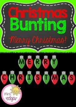 Christmas Bunting:A Christmas sign which reads 'Merry Christmas!' to display in your classroom during the festive season!SEE A PHOTO OF THIS PRODUCT HERE! This product is part of a money saving Christmas bundle. Click here to see!Each letter is inside a beautiful Christmas light by Zip-A-Dee-Doo-Dah DesignsKey terms:Christmas, christmas bunting, christmas decor, christmas display, christmas lights.