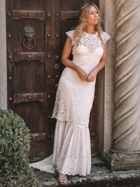 Robe de mariée en dentelle 2020 gaine bijou cou sans manches longueur de plancher retour creuser la robe de mariée