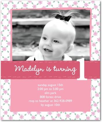 First Birthday Invite Paper Crafts Pinterest Birthdays - Baby girl first birthday invitation ideas