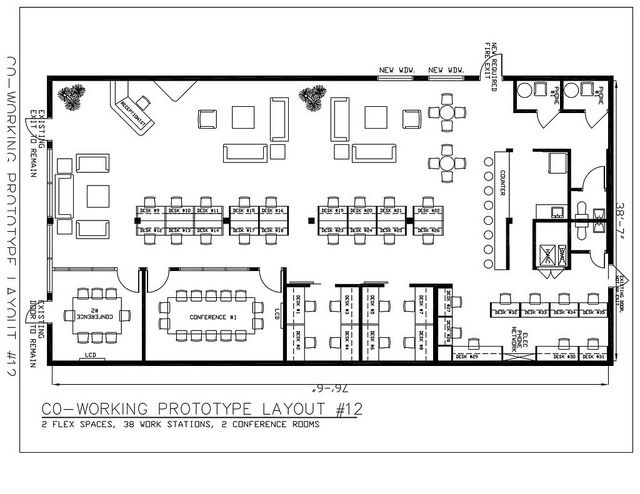 Coworking floorplan coworking place pinterest for Draw layout warehouse