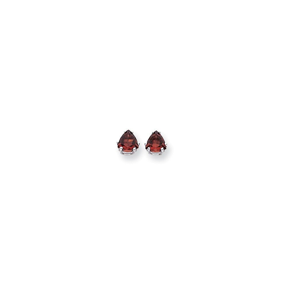 14k White Gold 6mm Trillion Garnet Earrings