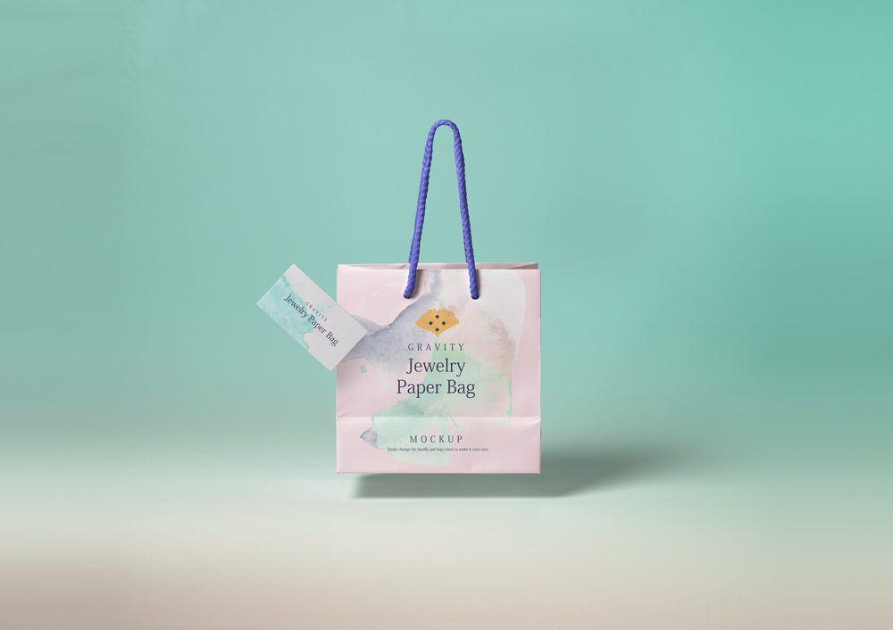 Paper Shopping Bag With Business Card Mockup Mockupworld Sacos De Compras Mockup Sacolas