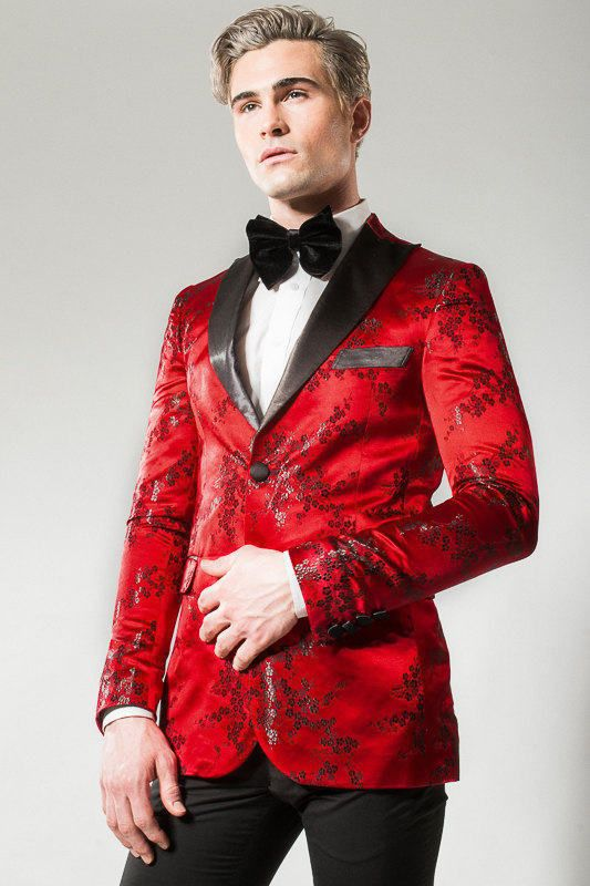 8224f6f029acff Icon Mens Red & Black Printed Tuxedo Blazer wedding | Wedding Day to ...