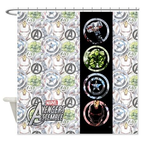 Avengers Circles Shower Curtain By Marvel Avengers Curtains Shower