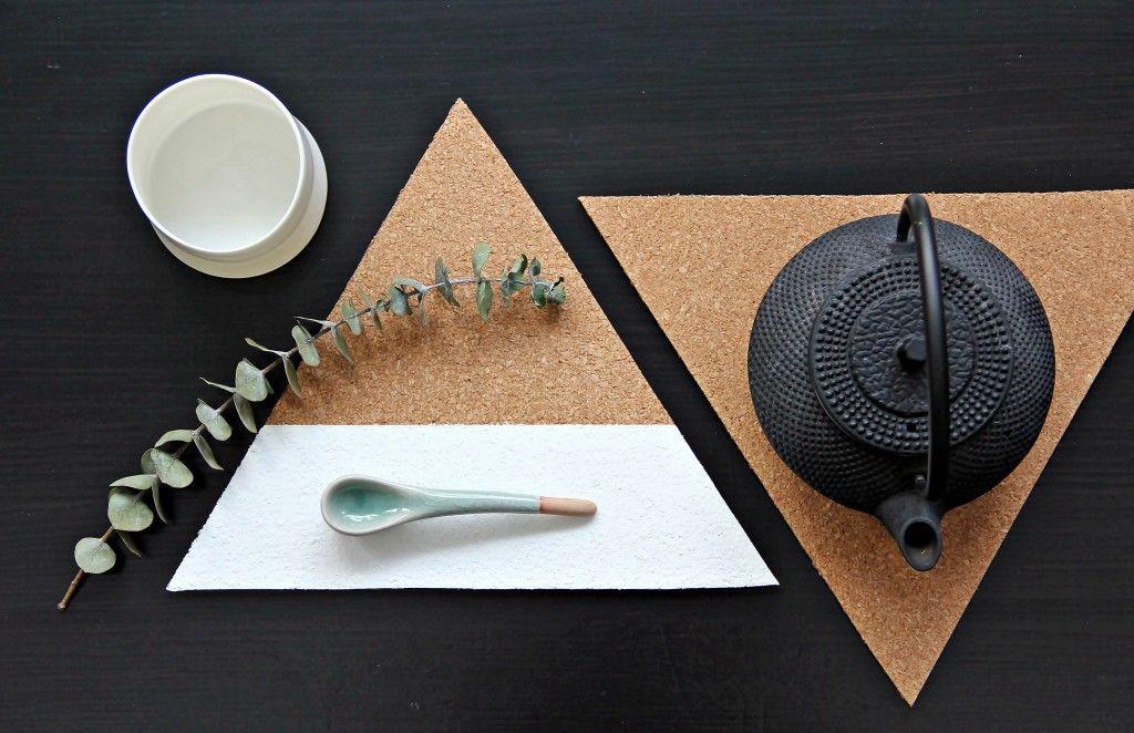 DIY geometric trivet in cork