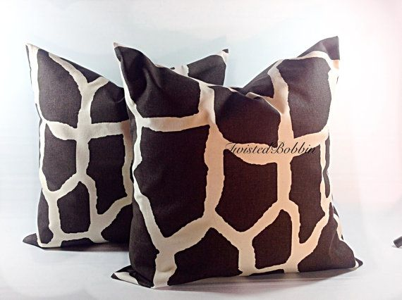 Giraffe Pillow Case Animal Print Brown And Natural Pillow Cover Set Of Two Select Your Size Natural Pillow Covers Pillow Sale Pillow Covers