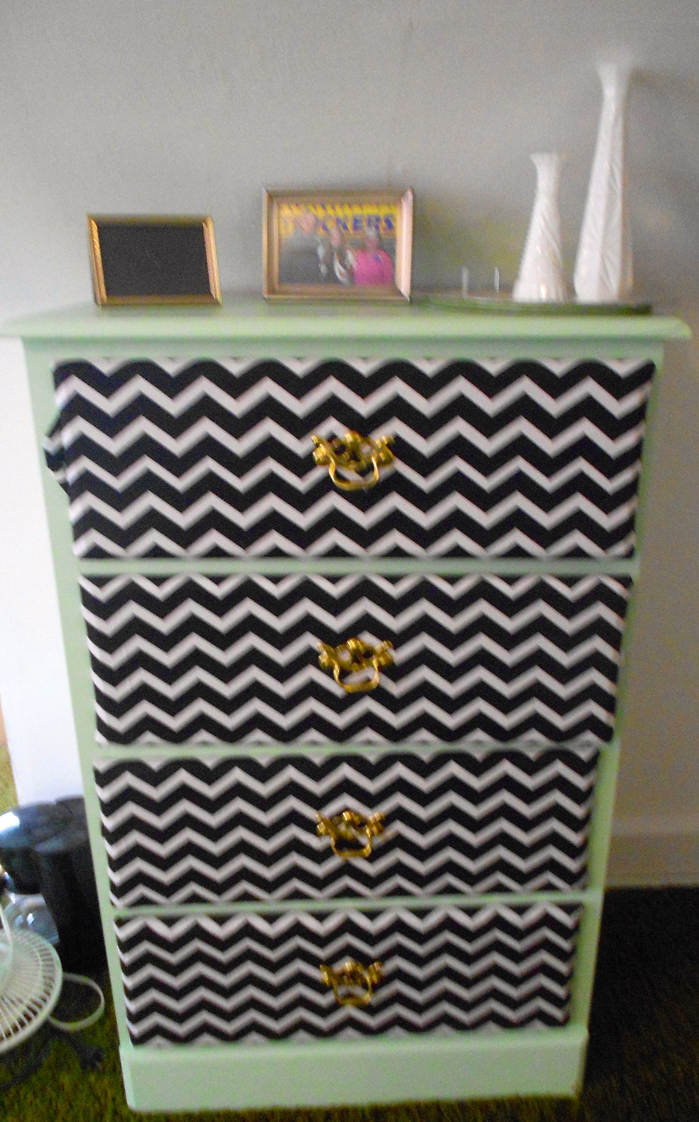 Painted laminate dresser mint green and covered drawers in chevron ...
